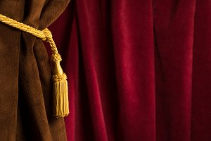 Brown theatre curtain