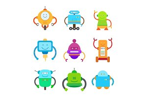 Funny Colorful Robots Collection of Illustrations