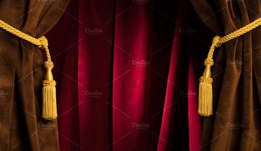 red theatre curtains arts entertainment photos creative market