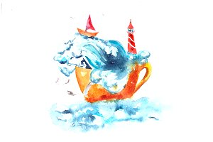 Watercolor Sea in a Cup Illustration