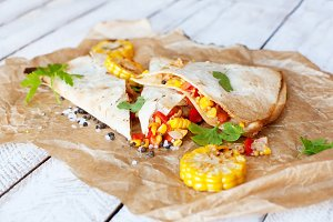 Mexican Quesadilla wrap with vegetables