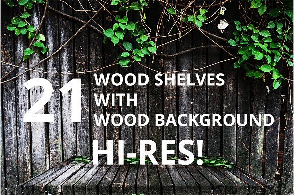 21 WOOD SHELVES WITH BACKGROUND