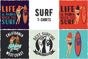 Surfing T-shirts Designs
