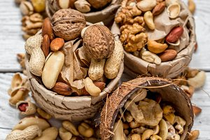 different nuts in a plate closeup