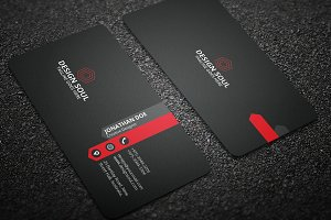 Dark & Red Corporate Business Card