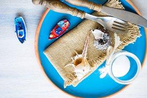 Summertime marine table setting
