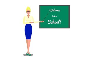 Teacher near blackboard. Welcome back to school. Vector flat illustration on white background