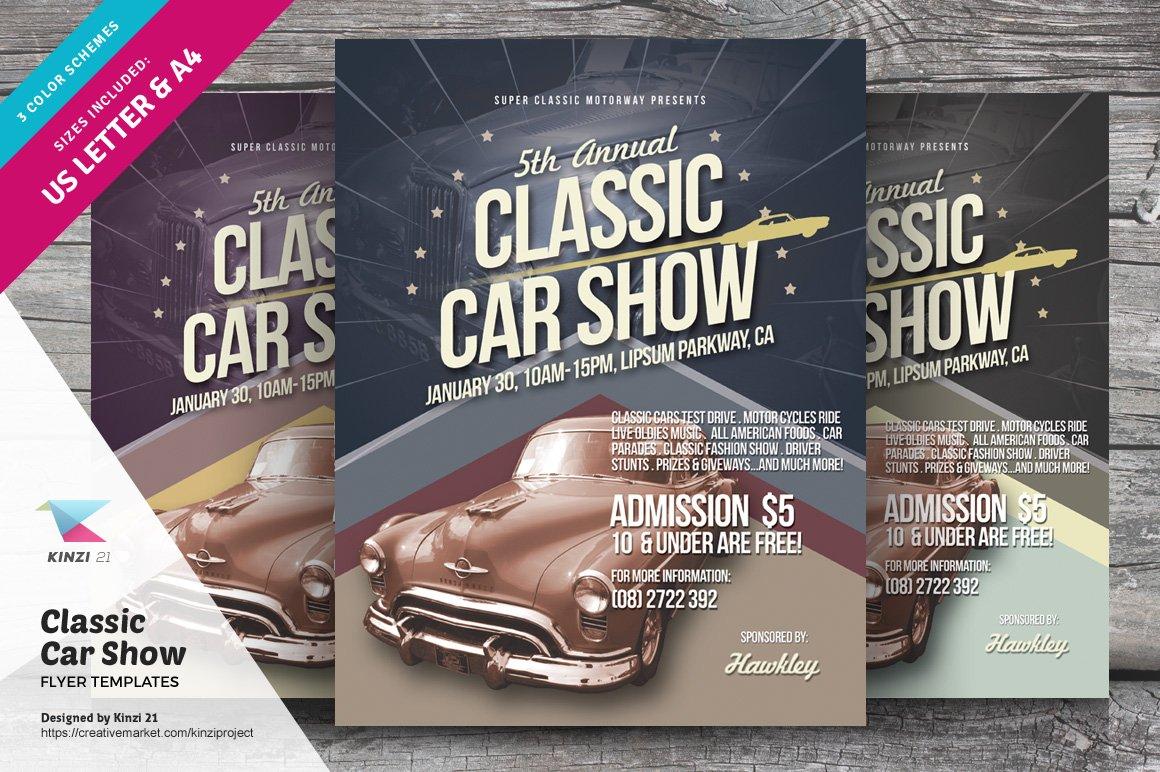 classic car show flyers flyer templates creative market