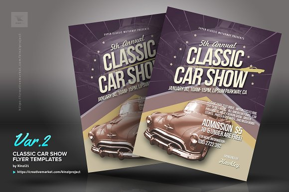 Classic Car Show Flyers Flyer Templates Creative Market - Blank car show flyer