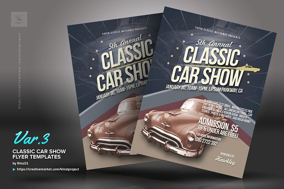 Classic Car Show Flyers Flyer Templates Creative Market