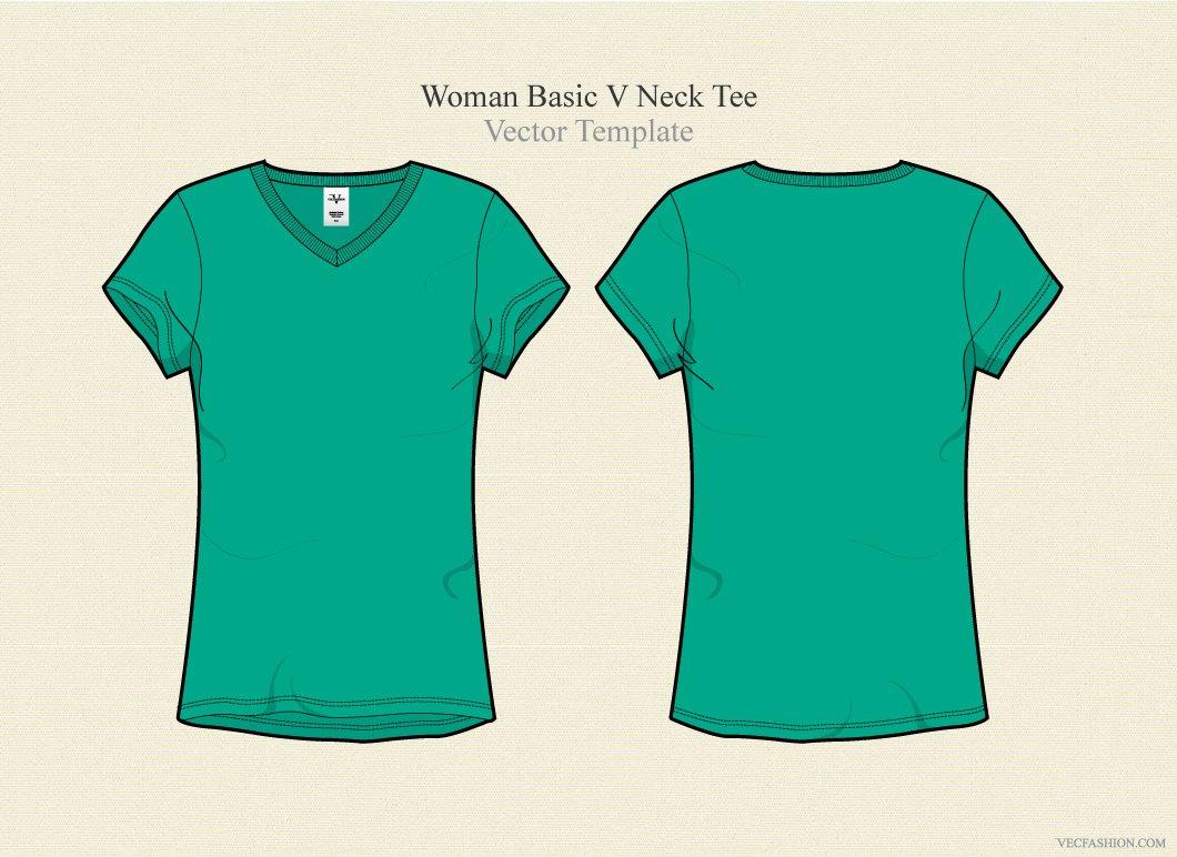 Woman Basic V Neck Tee Illustrations Creative Market