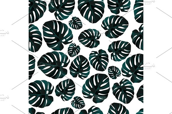 Seamless Background Pattern Of Palm Leaves