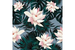 Hawaiian Tropical floral print ~ seamless background