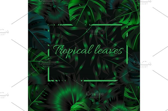 Green Tropical Design With Palm Leaves And Exotic Flowers Vector Floral Template