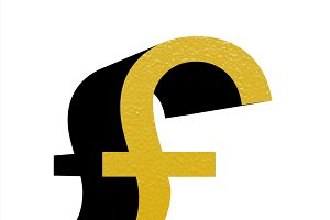 gold gbp sign isolated over white