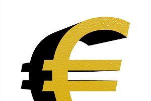 gold eur sign isolated over white