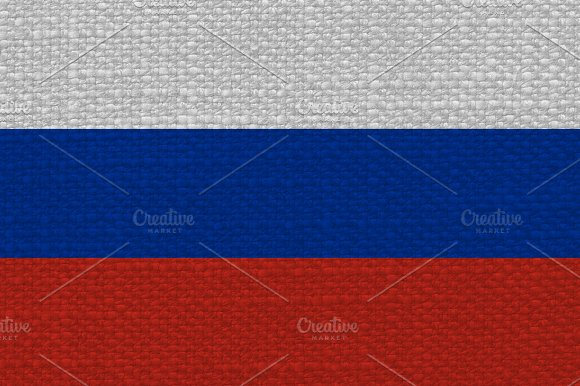 Russian Flag Of Russia With Fabric Texture