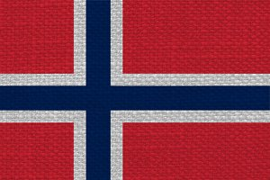 Norwegian Flag of Norway with fabric texture
