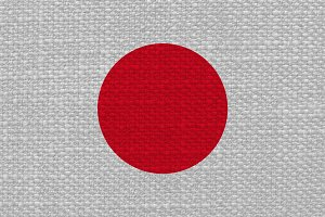 Japanese Flag of Japan with fabric texture
