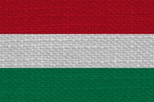 Hungarian Flag of Hungary with fabric texture