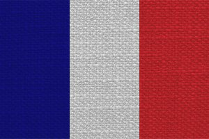 French Flag of France with fabric texture