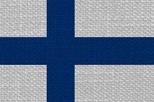 Finnish Flag of Finland with fabric texture