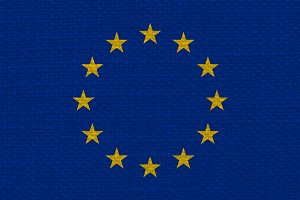flag of the European Union (EU) with fabric texture