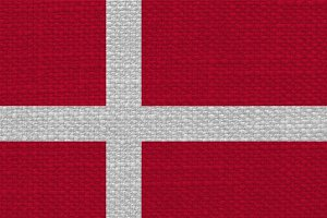 Danish Flag of Denmark with fabric texture