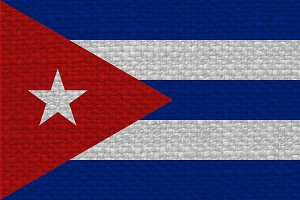 Cuban Flag of Cuba with fabric texture