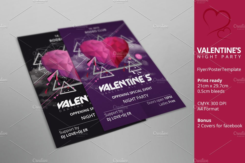 Valentine S Day Party Poster Flyer Flyer Templates Creative Market