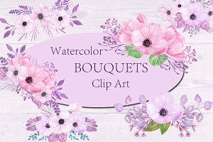 Watercolor Floral bouquets clipart