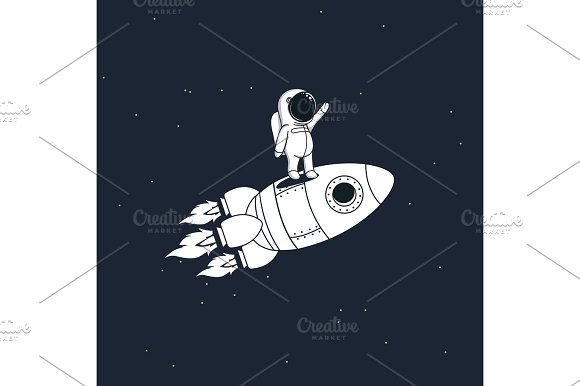 Sweet Astronaut Stays On Rocket