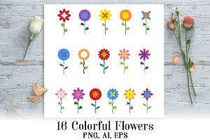16 Flowers Clipart
