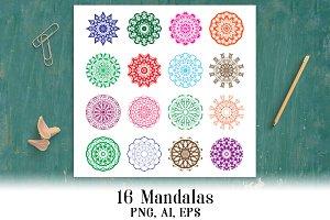 16 Mandalas / Doily Clipart