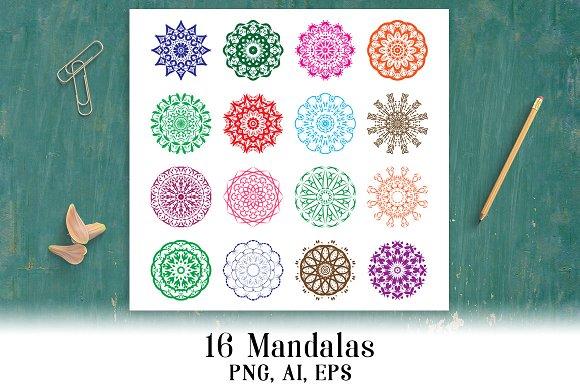 16 Mandalas Doily Clipart