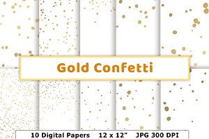 Gold Confetti Digital Paper- Opaque