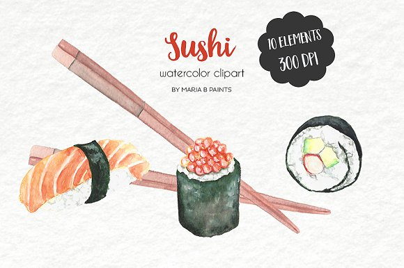 Watercolor Clip Art Sushi