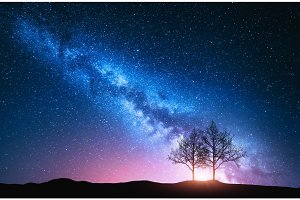 Starry sky with pink Milky Way and trees
