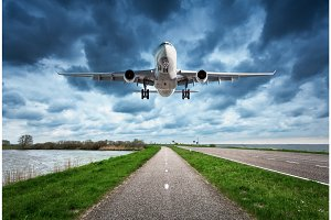 Airplane and road