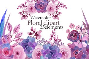 Watercolor purple floral clipart