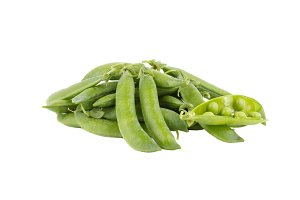 Pods of green peas, isolated on white