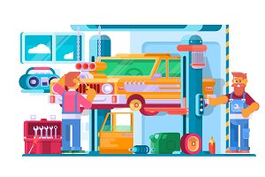 Auto Repair Service. Auto Mechanic Near the Car Lifted on Autolifts. Vector illustration