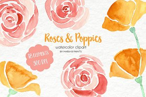 Watercolor Clip Art - Roses, Poppies