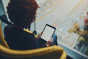 Mock-up of digital tablet in hands