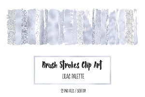 Lilac Brush Strokes Clip Art