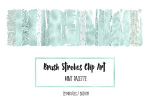 Mint Brush Strokes Clip Art
