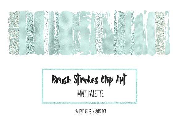 Mint Brush Strokes Clip Art