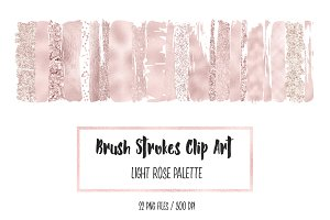 Light Rose Brush Stokres Clip Art