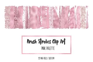Pink Brush Strokes Clip Art