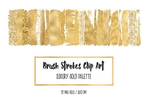Luxury Gold Brush Strokes Clip Art